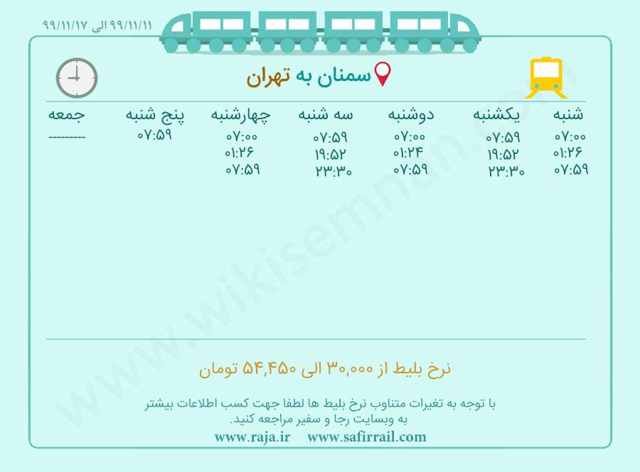برنامه حرکت قطار سمنان  تهران
