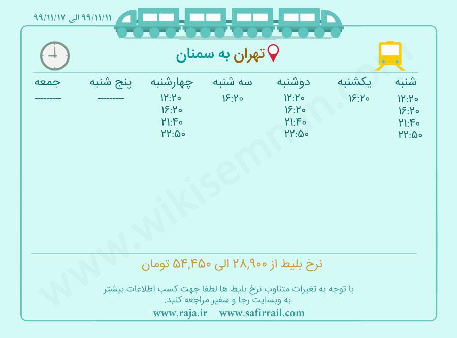 برنامه حرکت قطار تهران سمنان